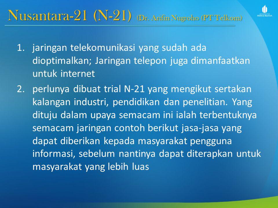 Nusantara-21 (N-21) (Dr. Arifin Nugroho (PT Telkom) 1.jaringan telekomunikasi yang sudah ada dioptimalkan; Jaringan telepon juga dimanfaatkan untuk in