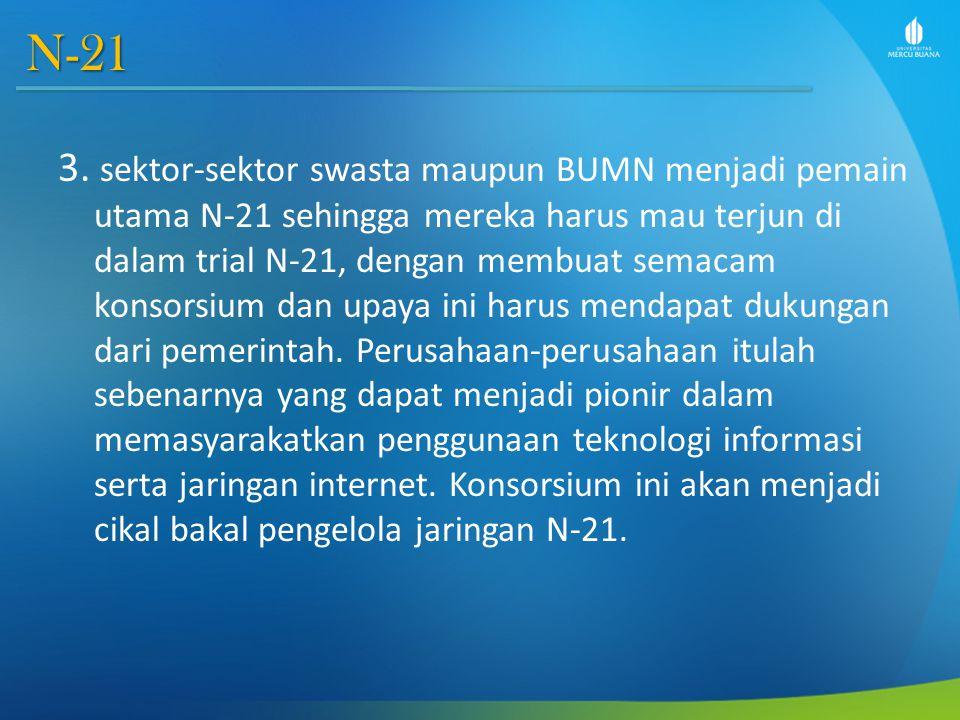 N-21 3. sektor-sektor swasta maupun BUMN menjadi pemain utama N-21 sehingga mereka harus mau terjun di dalam trial N-21, dengan membuat semacam konsor