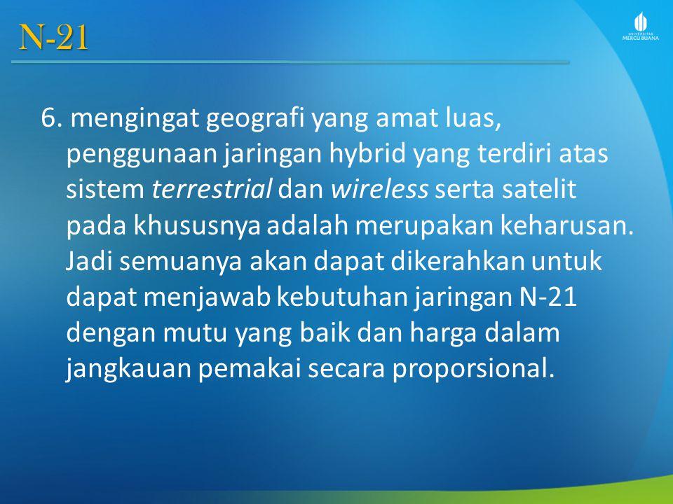 N-21 6. mengingat geografi yang amat luas, penggunaan jaringan hybrid yang terdiri atas sistem terrestrial dan wireless serta satelit pada khususnya a