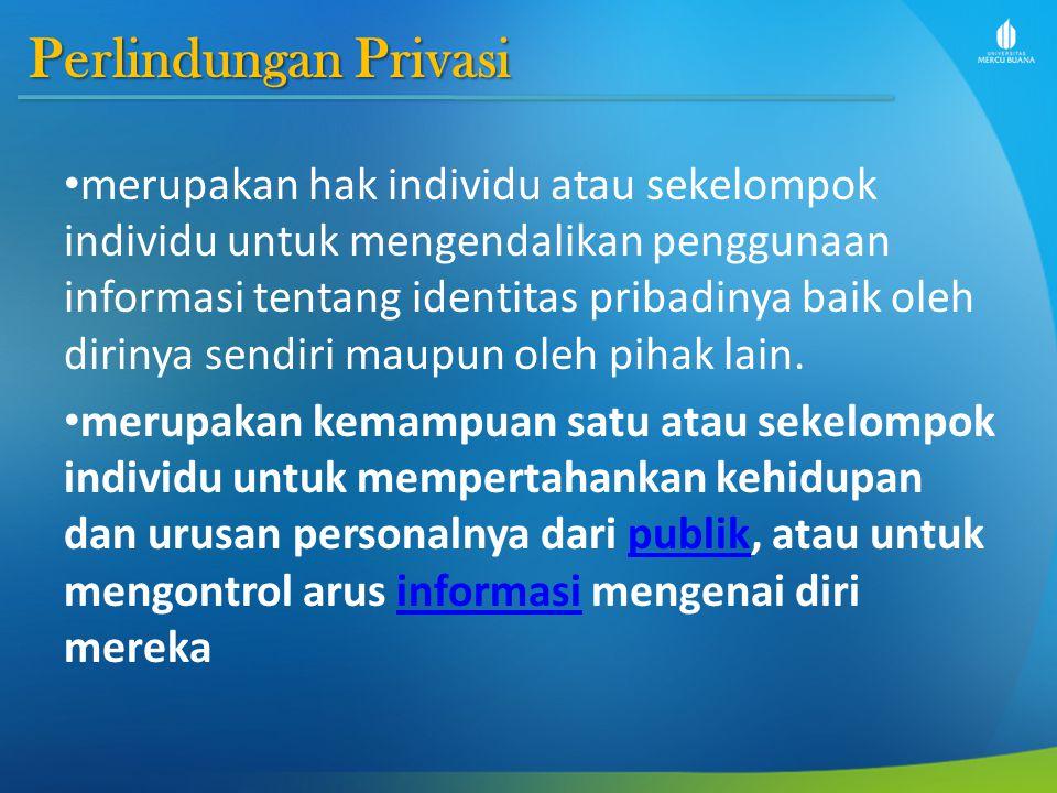 Perlindungan Privasi merupakan hak individu atau sekelompok individu untuk mengendalikan penggunaan informasi tentang identitas pribadinya baik oleh dirinya sendiri maupun oleh pihak lain.