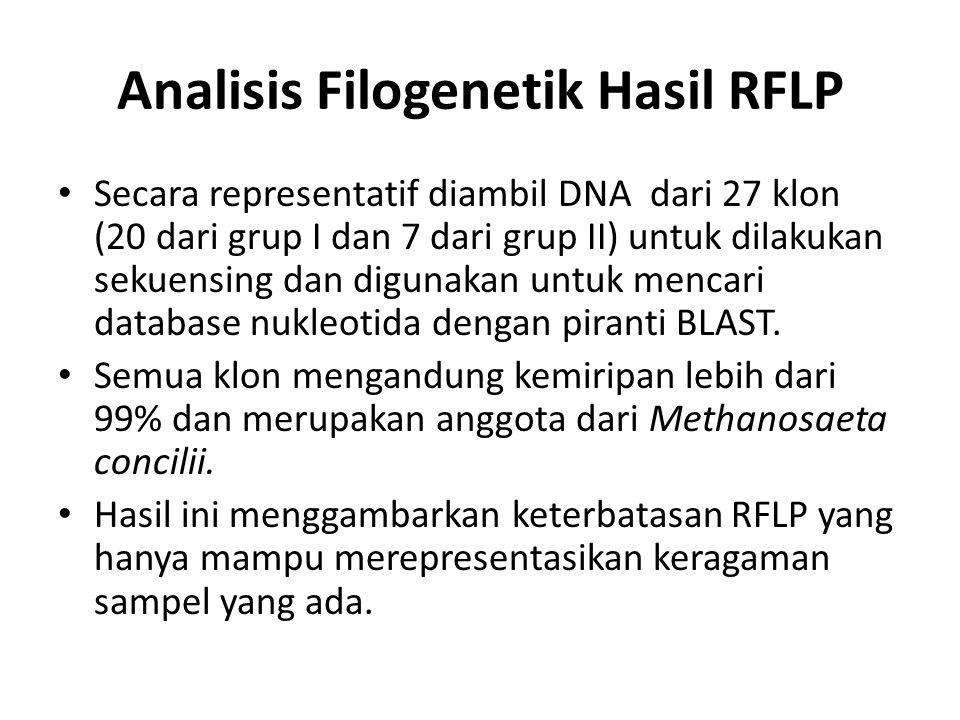 Analisis Filogenetik Hasil RFLP Secara representatif diambil DNA dari 27 klon (20 dari grup I dan 7 dari grup II) untuk dilakukan sekuensing dan digun