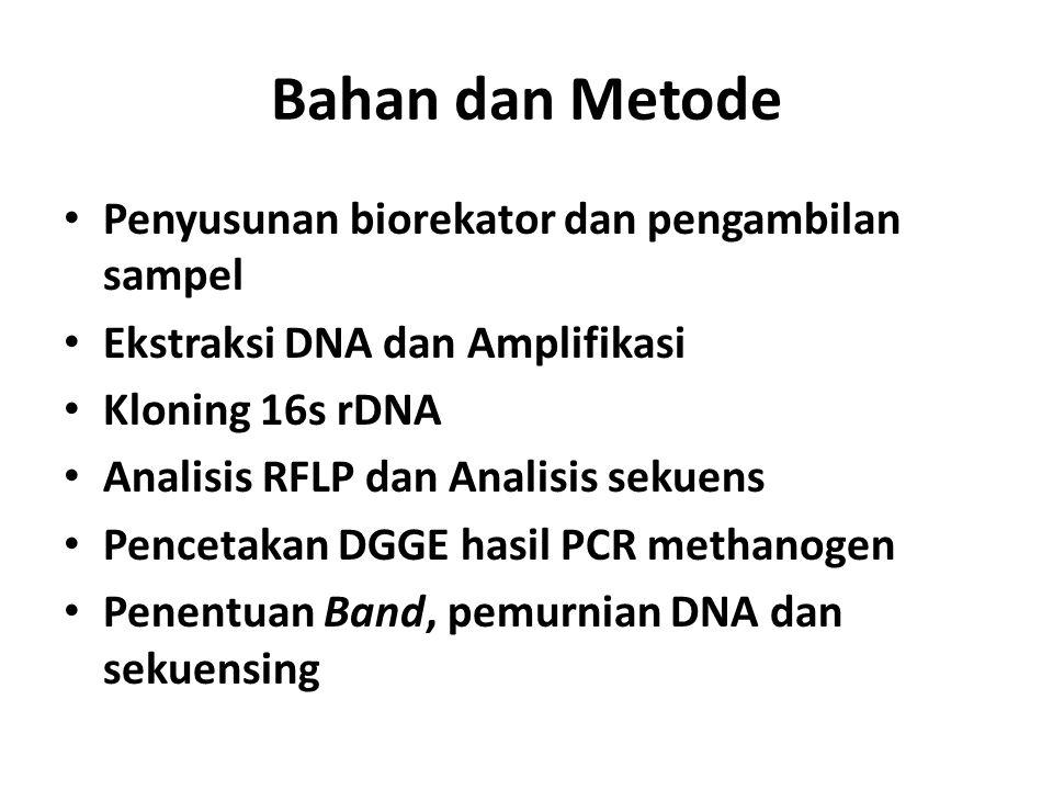 Bahan dan Metode Penyusunan biorekator dan pengambilan sampel Ekstraksi DNA dan Amplifikasi Kloning 16s rDNA Analisis RFLP dan Analisis sekuens Pencet