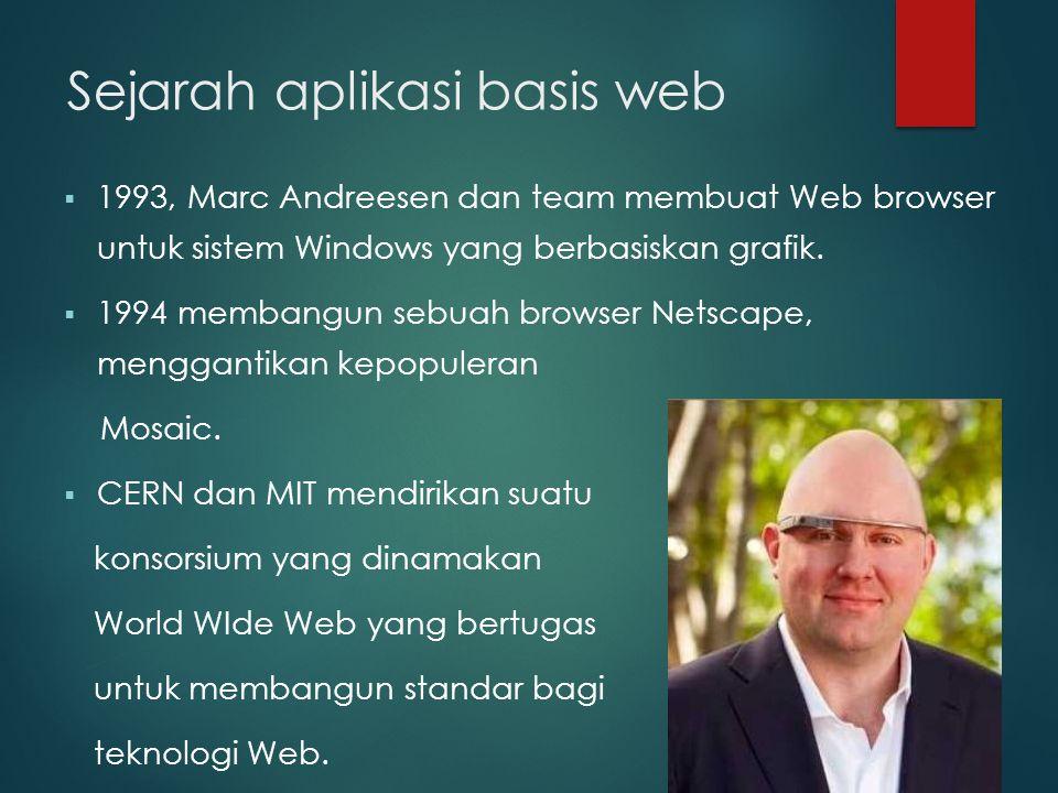 Sejarah aplikasi basis web  1993, Marc Andreesen dan team membuat Web browser untuk sistem Windows yang berbasiskan grafik.  1994 membangun sebuah b