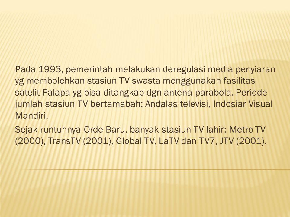 Pada 1993, pemerintah melakukan deregulasi media penyiaran yg membolehkan stasiun TV swasta menggunakan fasilitas satelit Palapa yg bisa ditangkap dgn antena parabola.