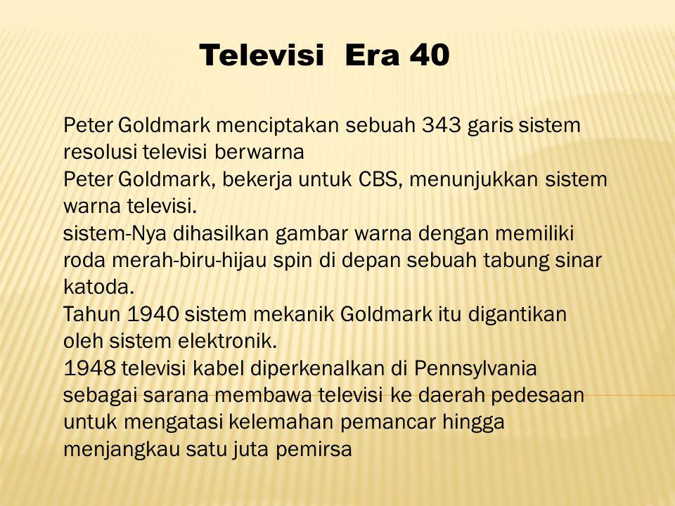 Peter Goldmark menciptakan sebuah 343 garis sistem resolusi televisi berwarna Peter Goldmark, bekerja untuk CBS, menunjukkan sistem warna televisi.