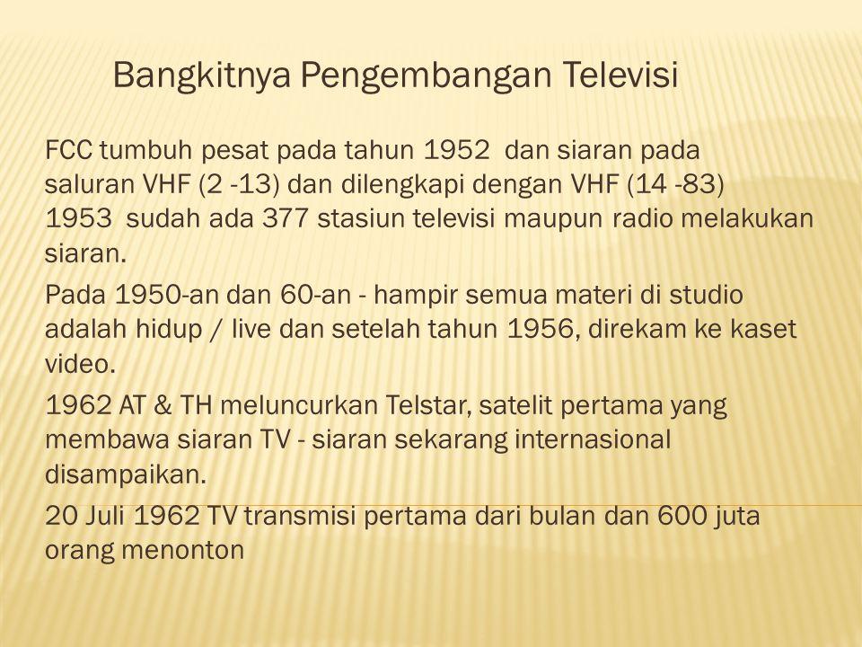 Bangkitnya Pengembangan Televisi FCC tumbuh pesat pada tahun 1952 dan siaran pada saluran VHF (2 -13) dan dilengkapi dengan VHF (14 -83) 1953 sudah ada 377 stasiun televisi maupun radio melakukan siaran.