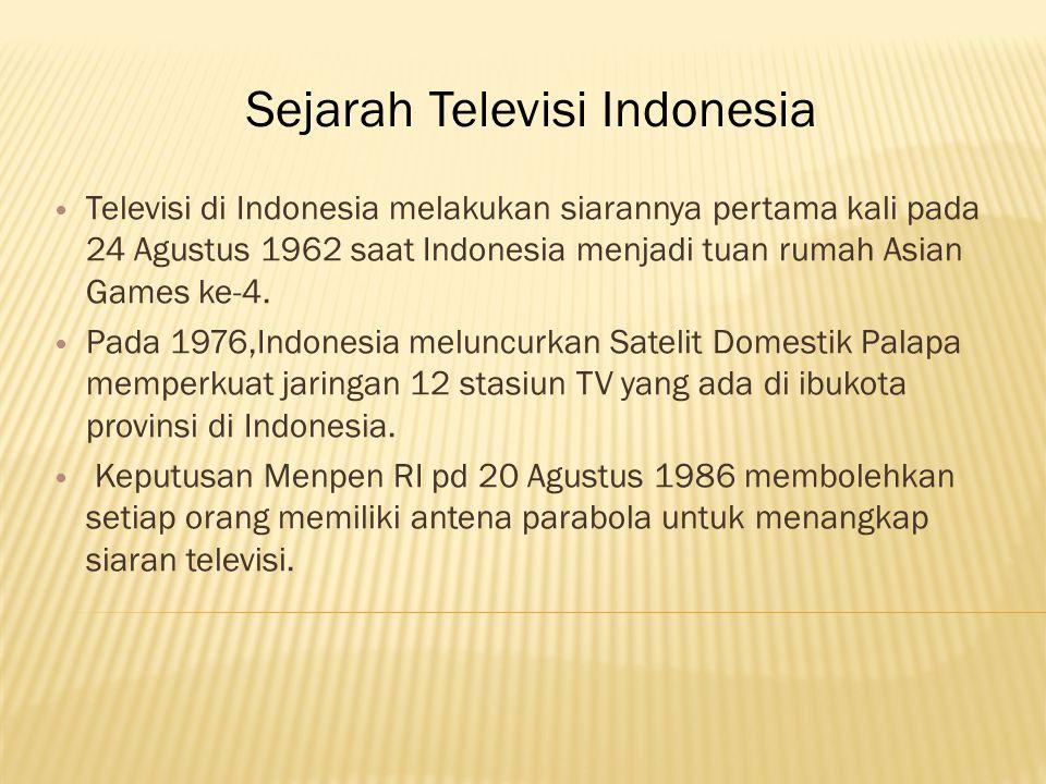 Televisi di Indonesia melakukan siarannya pertama kali pada 24 Agustus 1962 saat Indonesia menjadi tuan rumah Asian Games ke-4.