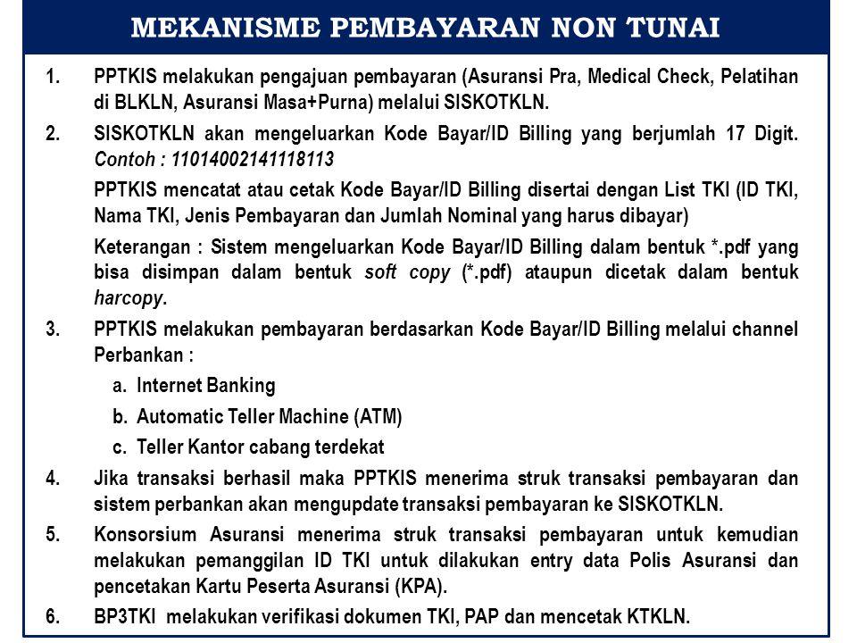 1.PPTKIS melakukan pengajuan pembayaran (Asuransi Pra, Medical Check, Pelatihan di BLKLN, Asuransi Masa+Purna) melalui SISKOTKLN.