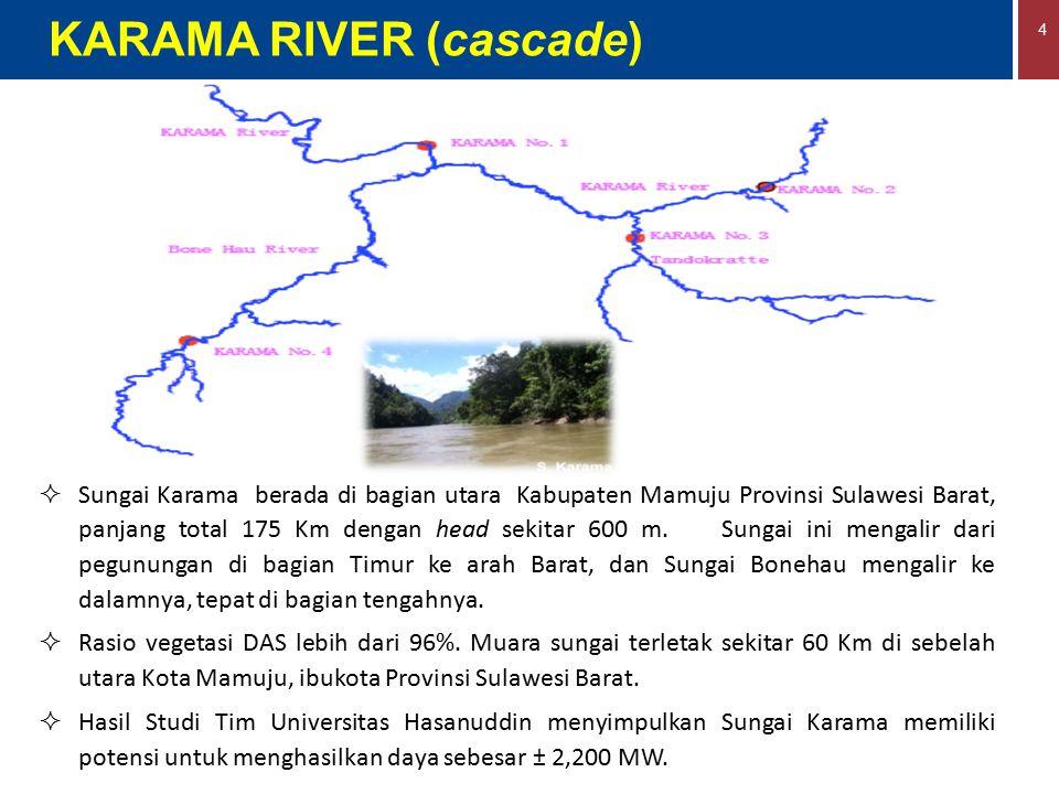 4  Sungai Karama berada di bagian utara Kabupaten Mamuju Provinsi Sulawesi Barat, panjang total 175 Km dengan head sekitar 600 m. Sungai ini mengalir