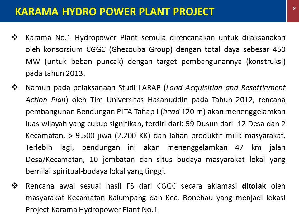 9 KARAMA HYDRO POWER PLANT PROJECT  Karama No.1 Hydropower Plant semula direncanakan untuk dilaksanakan oleh konsorsium CGGC (Ghezouba Group) dengan
