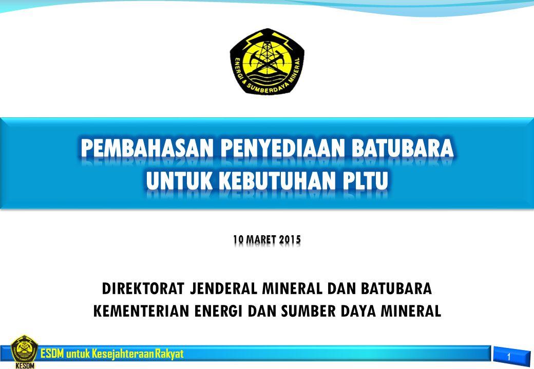 ESDM untuk Kesejahteraan Rakyat DIREKTORAT JENDERAL MINERAL DAN BATUBARA KEMENTERIAN ENERGI DAN SUMBER DAYA MINERAL
