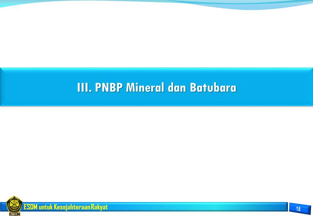 ESDM untuk Kesejahteraan Rakyat III. PNBP Mineral dan Batubara