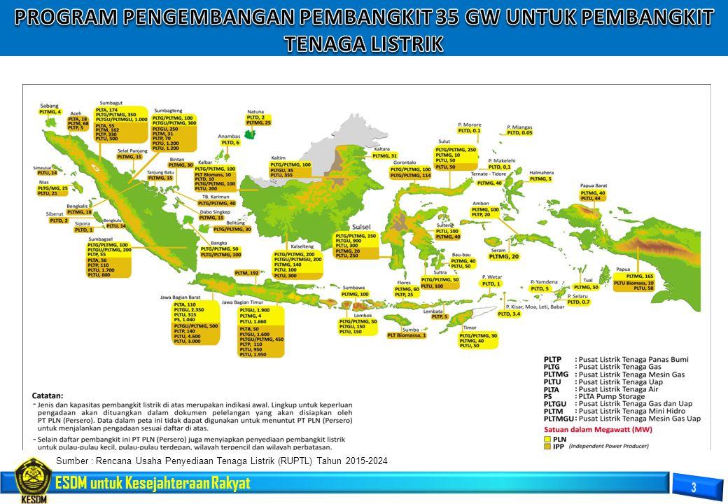 ESDM untuk Kesejahteraan Rakyat PKP2B = 75 Pertambangan Batubara = 3.786 Sumber : Direktorat Jenderal Mineral dan Batubara, 2015 Sebaran Rekapitulasi Izin Usaha Pertambangan Batubara Indonesia