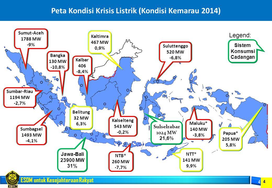 ESDM untuk Kesejahteraan Rakyat 4 Peta Kondisi Krisis Listrik (Kondisi Kemarau 2014) 4 Sumut-Aceh 1788 MW -9% Sumbar-Riau 1194 MW -2,7% Sumbagsel 1493