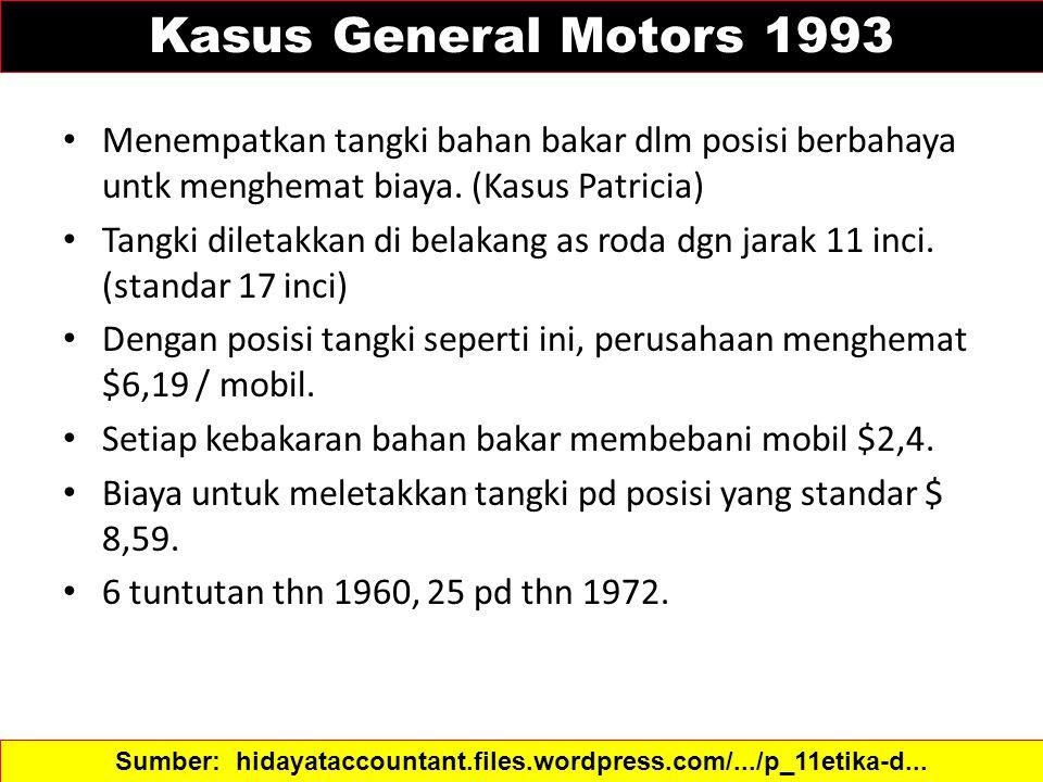 Kasus General Motors 1993 Menempatkan tangki bahan bakar dlm posisi berbahaya untk menghemat biaya. (Kasus Patricia) Tangki diletakkan di belakang as