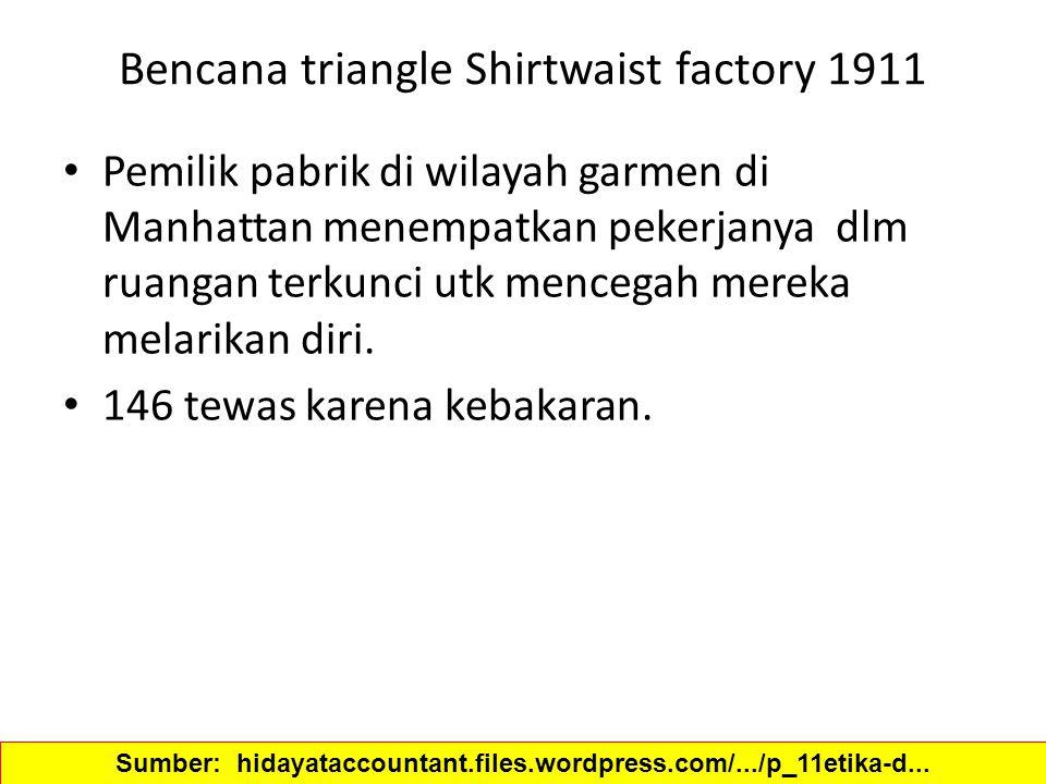 Bencana triangle Shirtwaist factory 1911 Pemilik pabrik di wilayah garmen di Manhattan menempatkan pekerjanya dlm ruangan terkunci utk mencegah mereka