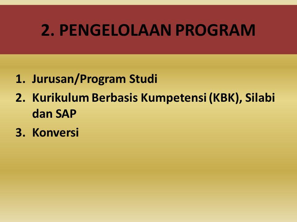 2. PENGELOLAAN PROGRAM 1.Jurusan/Program Studi 2.Kurikulum Berbasis Kumpetensi (KBK), Silabi dan SAP 3.Konversi