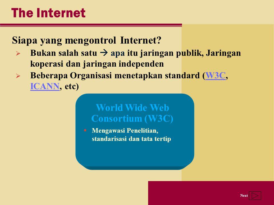 Next The Internet Siapa yang mengontrol Internet? World Wide Web Consortium (W3C)  Mengawasi Penelitian, standarisasi dan tata tertip  Bukan salah s