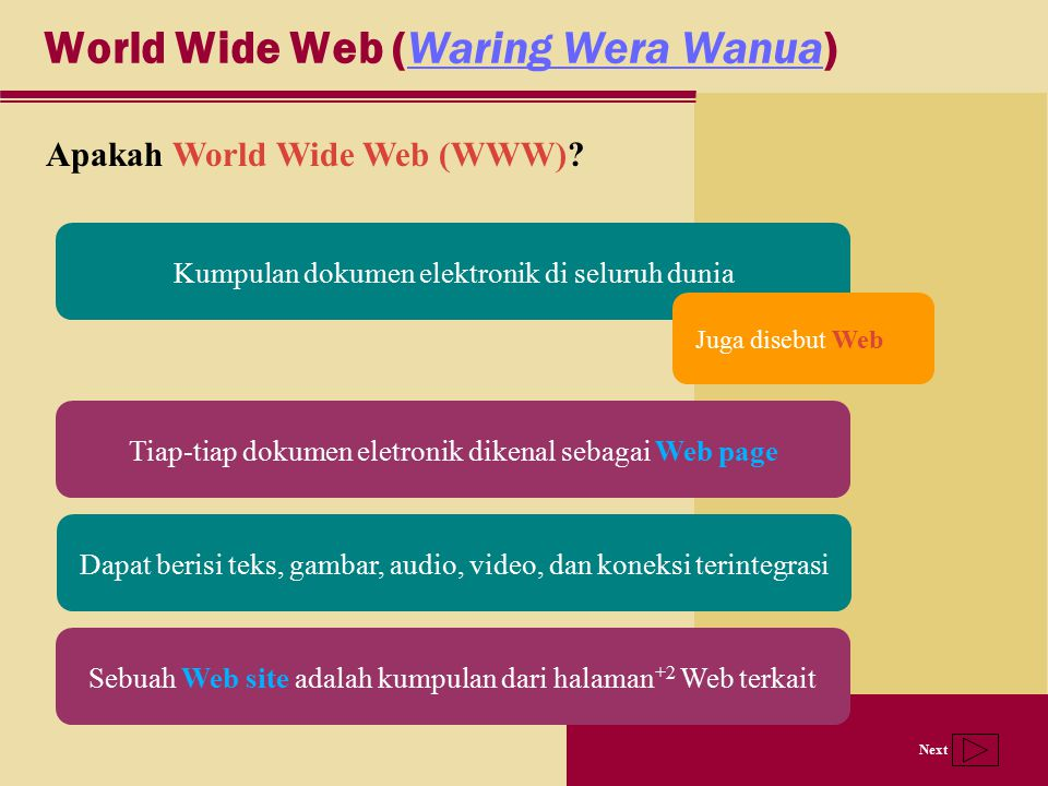 Next World Wide Web (Waring Wera Wanua)Waring Wera Wanua Apakah World Wide Web (WWW)? Kumpulan dokumen elektronik di seluruh dunia Tiap-tiap dokumen e