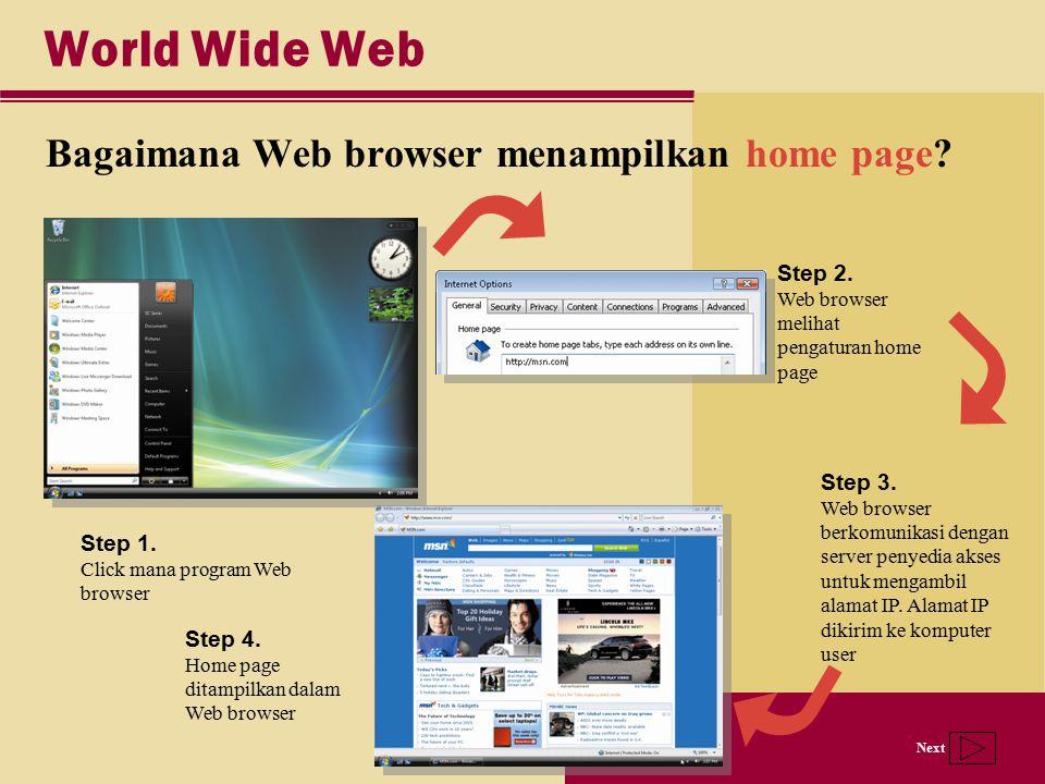 Next World Wide Web Bagaimana Web browser menampilkan home page? Step 3. Web browser berkomunikasi dengan server penyedia akses untuk mengambil alamat