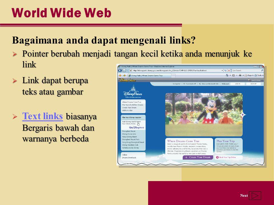 Next World Wide Web Bagaimana anda dapat mengenali links?  Link dapat berupa teks atau gambar  Pointer berubah menjadi tangan kecil ketika anda menu