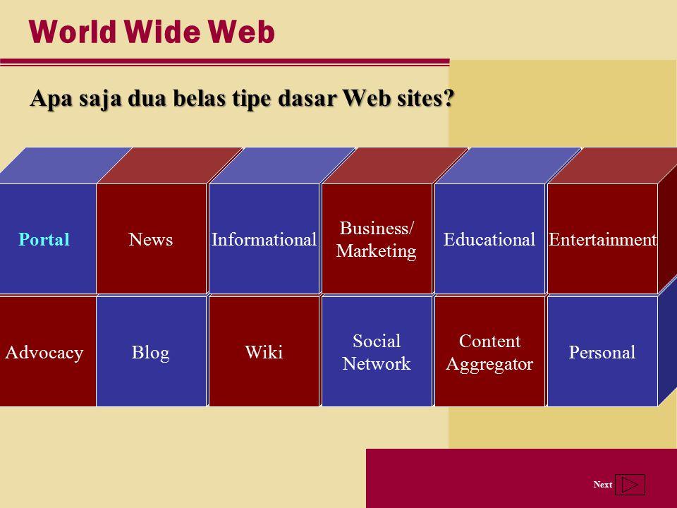 Next AdvocacyBlogWiki Social Network Content Aggregator Personal Portal World Wide Web Apa saja dua belas tipe dasar Web sites? NewsInformational Busi