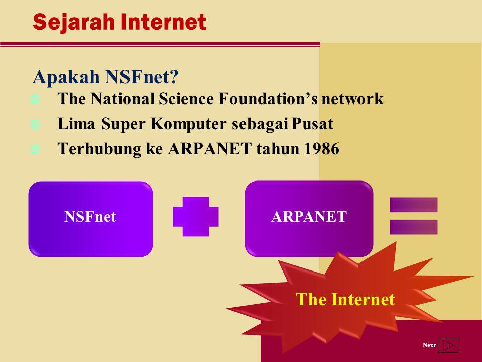 Next Sejarah Internet Apakah NSFnet? The National Science Foundation's network Lima Super Komputer sebagai Pusat Terhubung ke ARPANET tahun 1986 NSFne