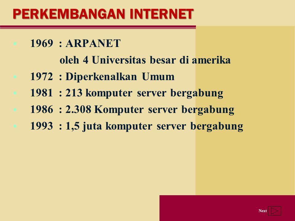 Next PERKEMBANGAN INTERNET  1969 : ARPANET oleh 4 Universitas besar di amerika  1972 : Diperkenalkan Umum  1981 : 213 komputer server bergabung  1