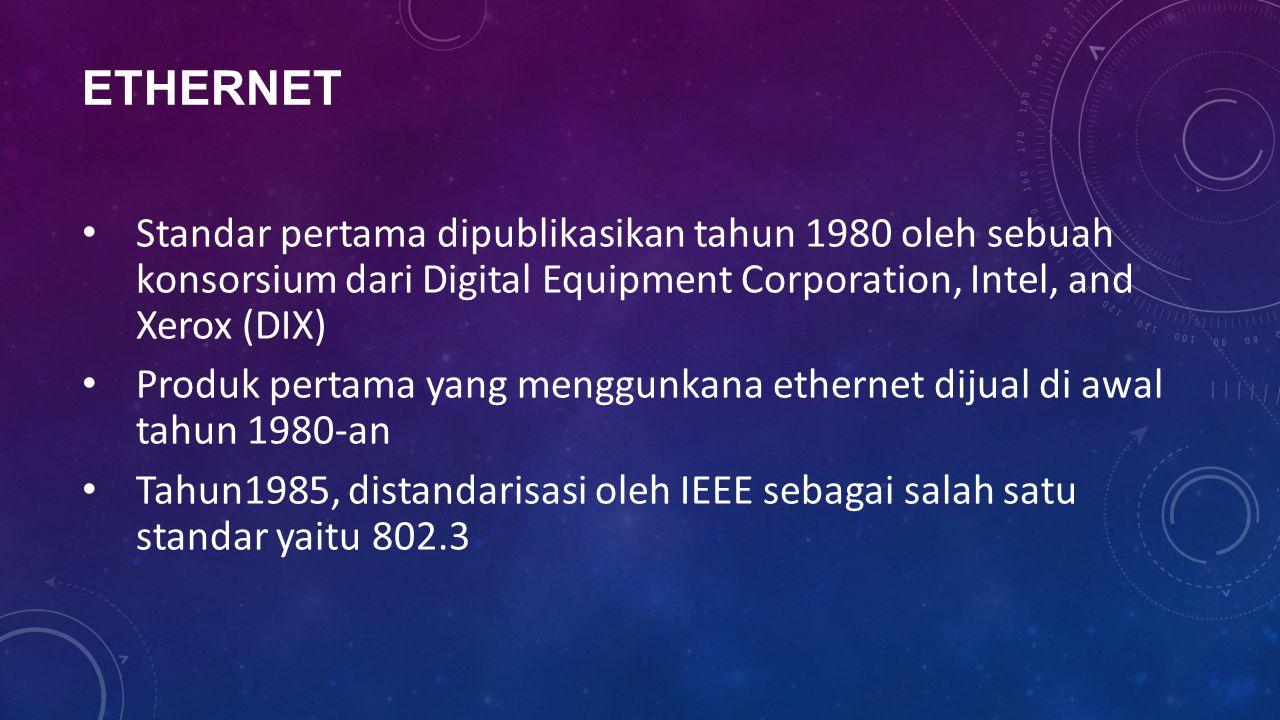 ETHERNET Standar pertama dipublikasikan tahun 1980 oleh sebuah konsorsium dari Digital Equipment Corporation, Intel, and Xerox (DIX) Produk pertama ya