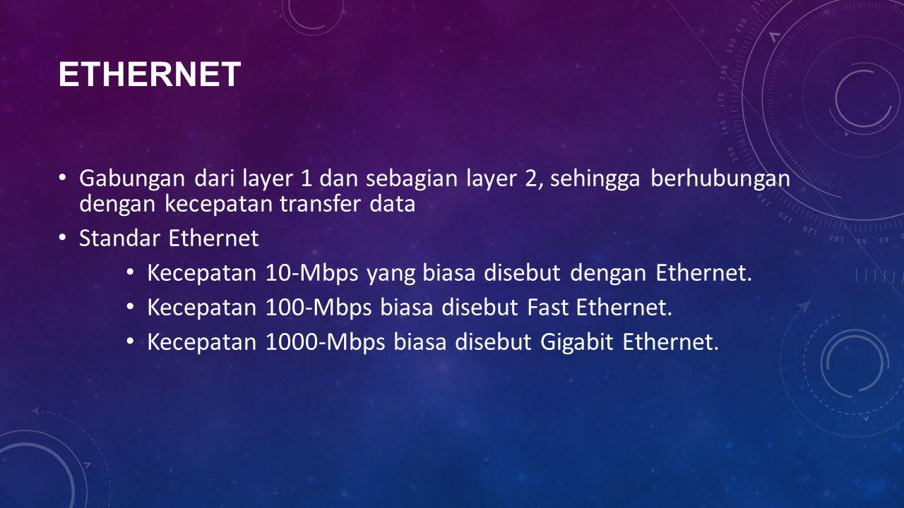 ETHERNET Gabungan dari layer 1 dan sebagian layer 2, sehingga berhubungan dengan kecepatan transfer data Standar Ethernet Kecepatan 10-Mbps yang biasa disebut dengan Ethernet.