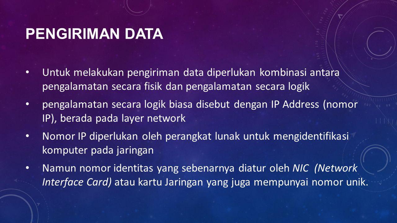 PENGIRIMAN DATA Untuk melakukan pengiriman data diperlukan kombinasi antara pengalamatan secara fisik dan pengalamatan secara logik pengalamatan secar