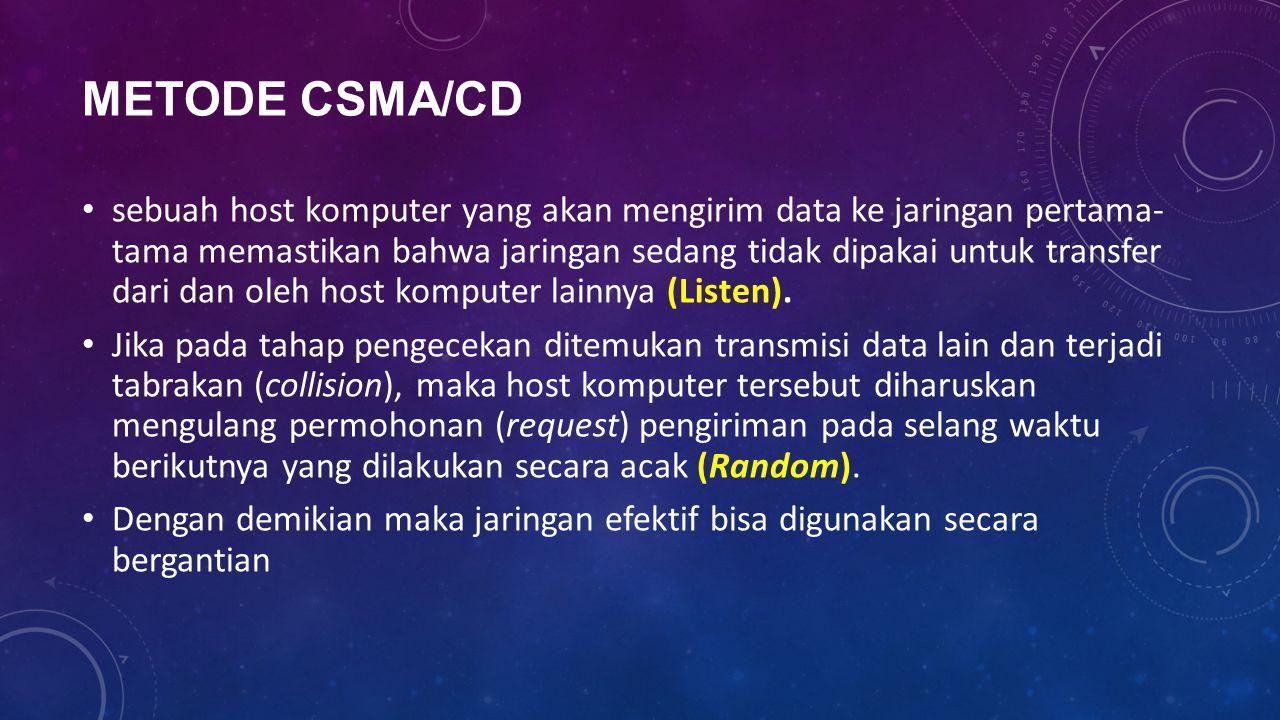 METODE CSMA/CD sebuah host komputer yang akan mengirim data ke jaringan pertama- tama memastikan bahwa jaringan sedang tidak dipakai untuk transfer da
