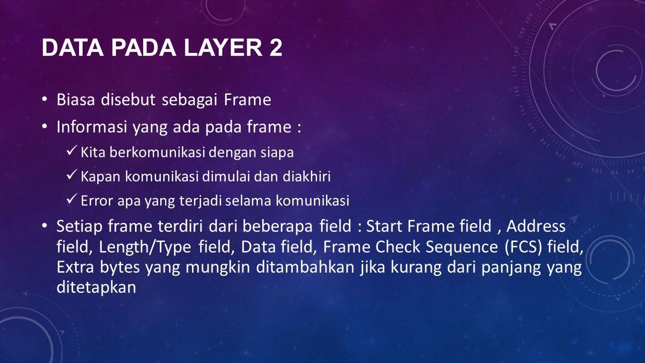 DATA PADA LAYER 2 Biasa disebut sebagai Frame Informasi yang ada pada frame : Kita berkomunikasi dengan siapa Kapan komunikasi dimulai dan diakhiri Er