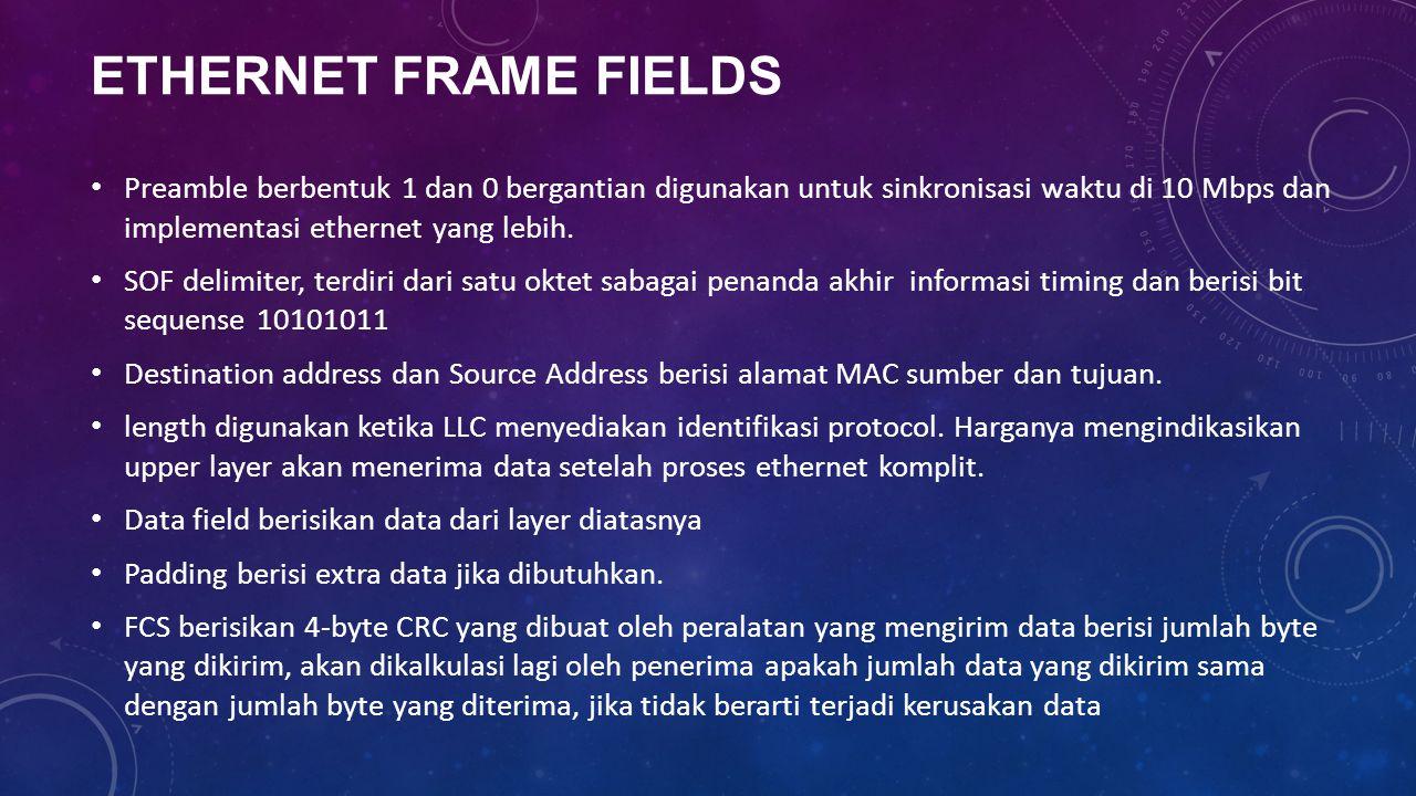 ETHERNET FRAME FIELDS Preamble berbentuk 1 dan 0 bergantian digunakan untuk sinkronisasi waktu di 10 Mbps dan implementasi ethernet yang lebih.