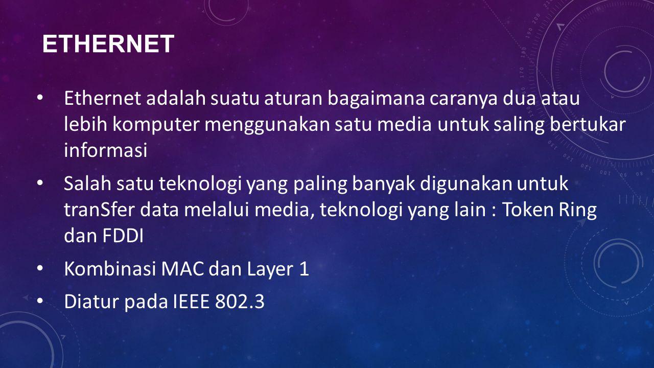 ETHERNET Ethernet adalah suatu aturan bagaimana caranya dua atau lebih komputer menggunakan satu media untuk saling bertukar informasi Salah satu tekn