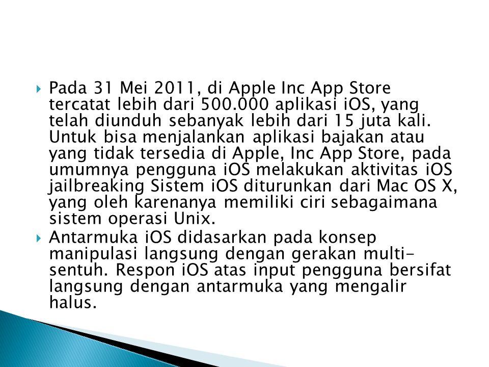  Pada 31 Mei 2011, di Apple Inc App Store tercatat lebih dari 500.000 aplikasi iOS, yang telah diunduh sebanyak lebih dari 15 juta kali. Untuk bisa m