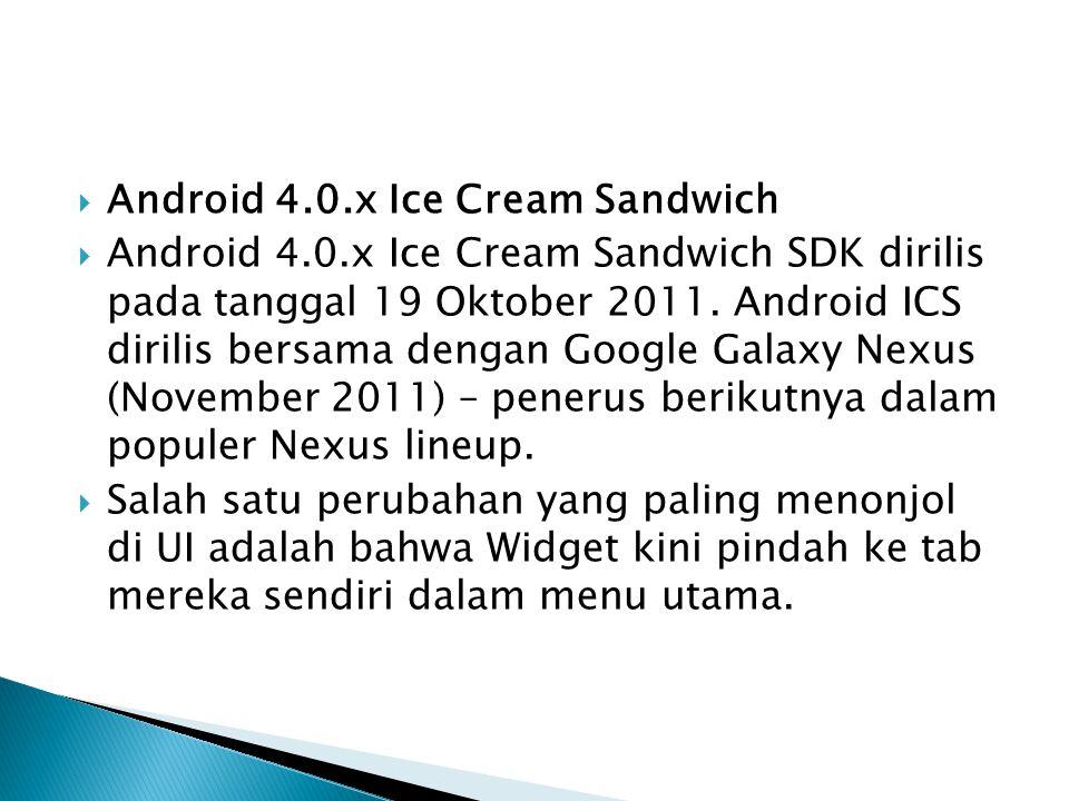  Android 4.0.x Ice Cream Sandwich  Android 4.0.x Ice Cream Sandwich SDK dirilis pada tanggal 19 Oktober 2011. Android ICS dirilis bersama dengan Goo