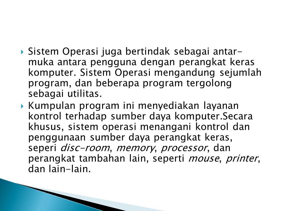  Sistem Operasi juga bertindak sebagai antar- muka antara pengguna dengan perangkat keras komputer. Sistem Operasi mengandung sejumlah program, dan b
