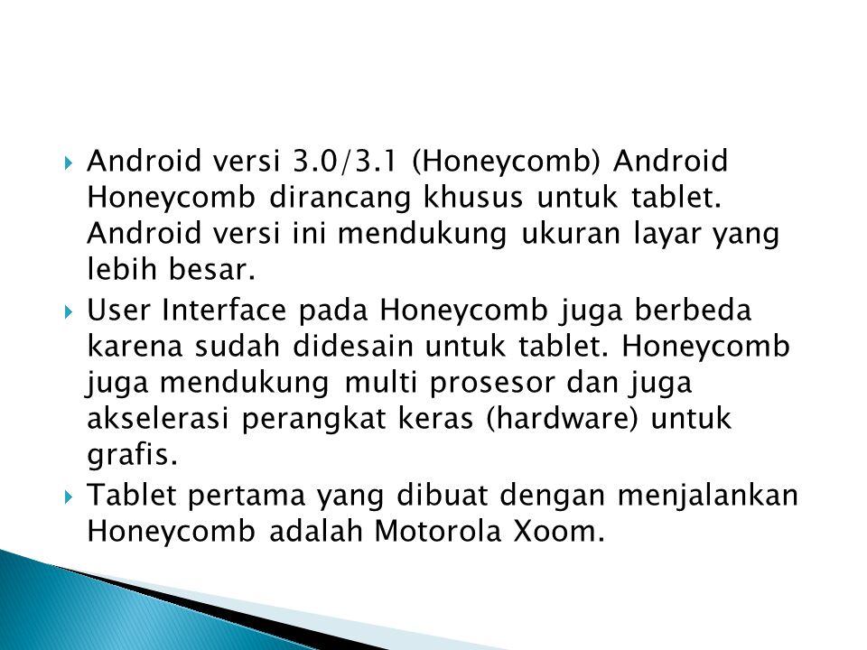  Android versi 3.0/3.1 (Honeycomb) Android Honeycomb dirancang khusus untuk tablet. Android versi ini mendukung ukuran layar yang lebih besar.  User