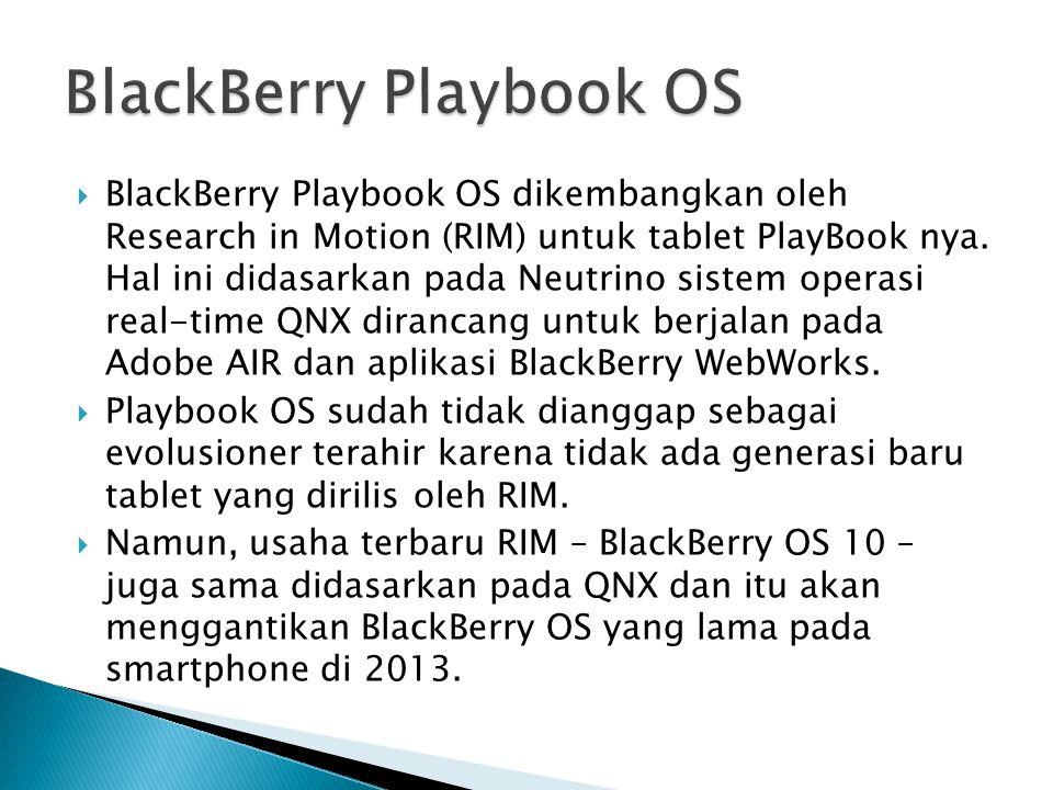 BlackBerry Playbook OS dikembangkan oleh Research in Motion (RIM) untuk tablet PlayBook nya. Hal ini didasarkan pada Neutrino sistem operasi real-ti