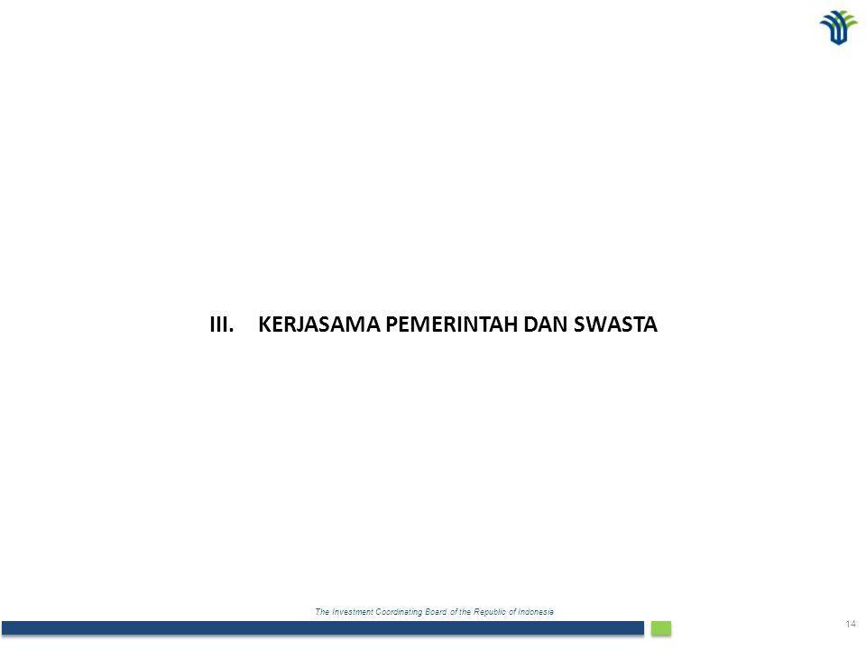 The Investment Coordinating Board of the Republic of Indonesia 14 III.KERJASAMA PEMERINTAH DAN SWASTA