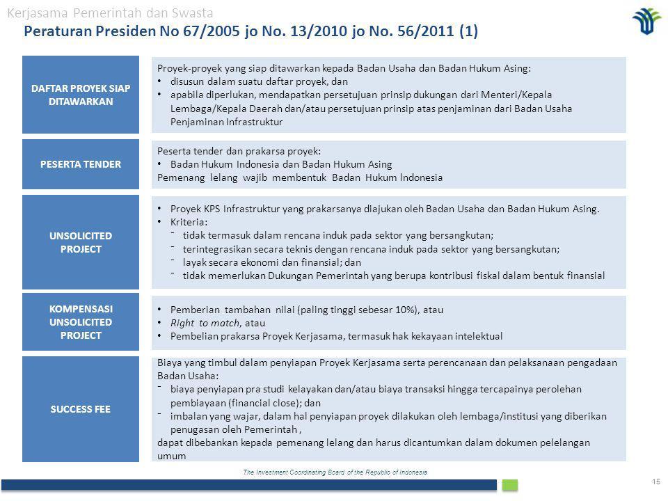 The Investment Coordinating Board of the Republic of Indonesia 15 UNSOLICITED PROJECT PESERTA TENDER Proyek KPS Infrastruktur yang prakarsanya diajukan oleh Badan Usaha dan Badan Hukum Asing.