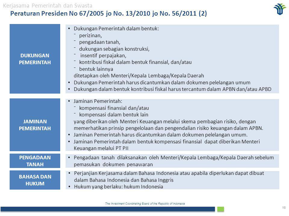 The Investment Coordinating Board of the Republic of Indonesia 16 PENGADAAN TANAH DUKUNGAN PEMERINTAH Pengadaan tanah dilaksanakan oleh Menteri/Kepala Lembaga/Kepala Daerah sebelum pemasukan dokumen penawaran JAMINAN PEMERINTAH Jaminan Pemerintah: ⁻kompensasi finansial dan/atau ⁻kompensasi dalam bentuk lain yang diberikan oleh Menteri Keuangan melalui skema pembagian risiko, dengan memerhatikan prinsip pengelolaan dan pengendalian risiko keuangan dalam APBN.