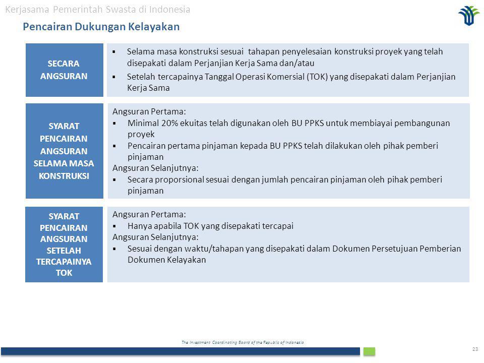 The Investment Coordinating Board of the Republic of Indonesia 23  Selama masa konstruksi sesuai tahapan penyelesaian konstruksi proyek yang telah disepakati dalam Perjanjian Kerja Sama dan/atau  Setelah tercapainya Tanggal Operasi Komersial (TOK) yang disepakati dalam Perjanjian Kerja Sama SECARA ANGSURAN Kerjasama Pemerintah Swasta di Indonesia Pencairan Dukungan Kelayakan Angsuran Pertama:  Minimal 20% ekuitas telah digunakan oleh BU PPKS untuk membiayai pembangunan proyek  Pencairan pertama pinjaman kepada BU PPKS telah dilakukan oleh pihak pemberi pinjaman Angsuran Selanjutnya:  Secara proporsional sesuai dengan jumlah pencairan pinjaman oleh pihak pemberi pinjaman SYARAT PENCAIRAN ANGSURAN SELAMA MASA KONSTRUKSI Angsuran Pertama:  Hanya apabila TOK yang disepakati tercapai Angsuran Selanjutnya:  Sesuai dengan waktu/tahapan yang disepakati dalam Dokumen Persetujuan Pemberian Dokumen Kelayakan SYARAT PENCAIRAN ANGSURAN SETELAH TERCAPAINYA TOK