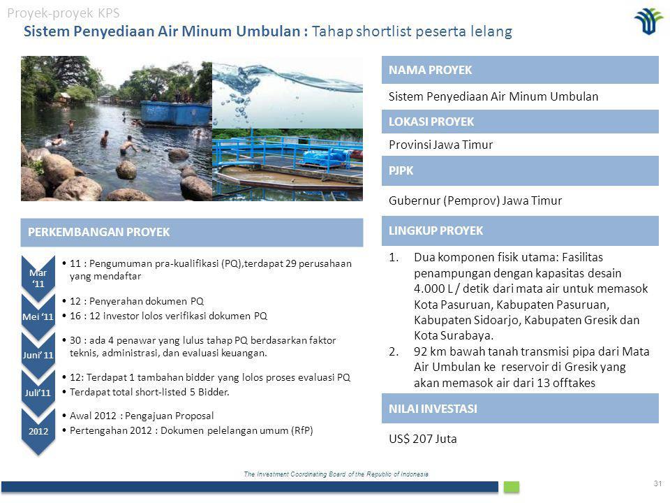 The Investment Coordinating Board of the Republic of Indonesia 31 PERKEMBANGAN PROYEK Mar '11 11 : Pengumuman pra-kualifikasi (PQ),terdapat 29 perusahaan yang mendaftar Mei '11 12 : Penyerahan dokumen PQ 16 : 12 investor lolos verifikasi dokumen PQ Juni' 11 30 : ada 4 penawar yang lulus tahap PQ berdasarkan faktor teknis, administrasi, dan evaluasi keuangan.
