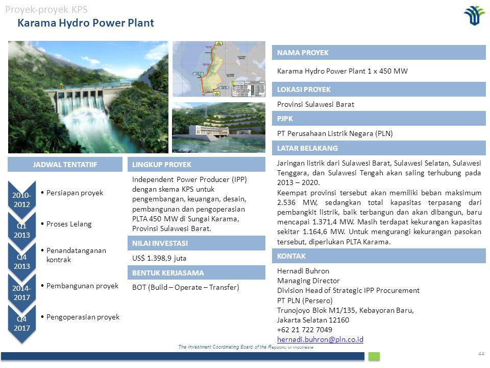 The Investment Coordinating Board of the Republic of Indonesia 44 Karama Hydro Power Plant Proyek-proyek KPS NAMA PROYEK Karama Hydro Power Plant 1 x 450 MW LOKASI PROYEK Provinsi Sulawesi Barat PJPK PT Perusahaan Listrik Negara (PLN) LATAR BELAKANG Jaringan listrik dari Sulawesi Barat, Sulawesi Selatan, Sulawesi Tenggara, dan Sulawesi Tengah akan saling terhubung pada 2013 – 2020.
