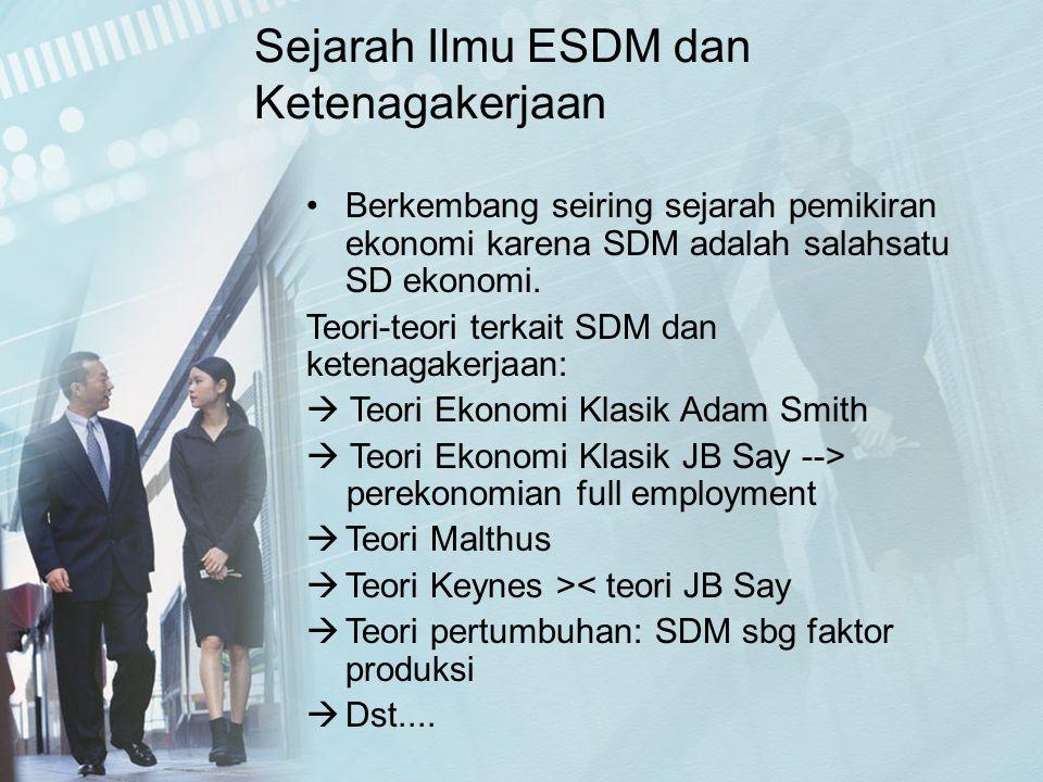 Berkembang seiring sejarah pemikiran ekonomi karena SDM adalah salahsatu SD ekonomi. Teori-teori terkait SDM dan ketenagakerjaan:  Teori Ekonomi Klas