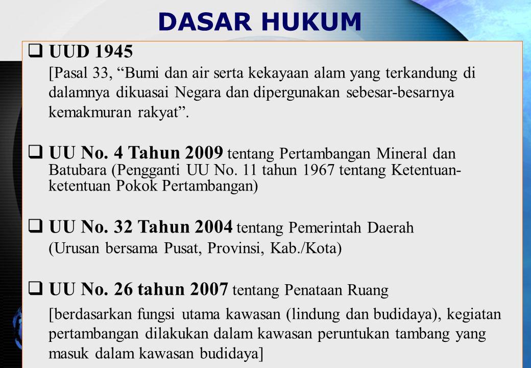 DASAR HUKUM  UUD 1945 [Pasal 33, Bumi dan air serta kekayaan alam yang terkandung di dalamnya dikuasai Negara dan dipergunakan sebesar-besarnya kemakmuran rakyat .