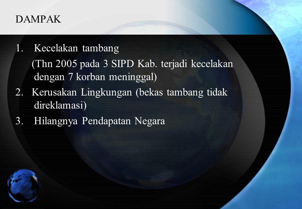 DAMPAK 1.Kecelakan tambang (Thn 2005 pada 3 SIPD Kab.