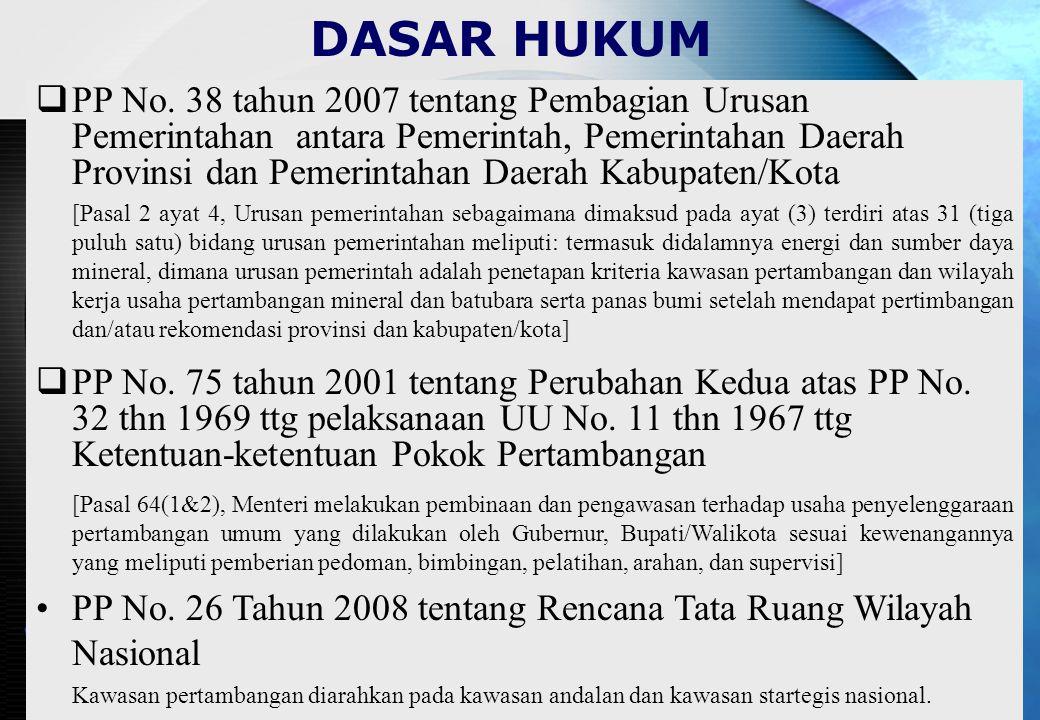 KEWAJIBAN PEMEGANG SIPD : PASAL 5 : –SETIAP USAHA PERTAMBANGAN BGG C HRS DENGAN IJIN GUBERNUR –SIPD TIDAK DAPAT DIPINDAH TANGANKAN KECUALI IJIN GUBERNUR PASAL 11 : –BERKEWAJIBAN MELAKSANAKAN PEMELIHARAAN KESEHATAN DAN KESELAMATAN KERJA, PENGAMANAN TEKNIS DAN LINGKUNGAN HIDUP –MEMBERIKAN LAPORAN SECARA TERTULIS ATAS PELAKSANAAN USAHANYA SETIAP 3 BULAN SEKALI KPD GUBERNUR/ BUPATI –MEMATUHI SEMUA SYARAT-SYARAT YG TERCANTUM DALAM SIPD